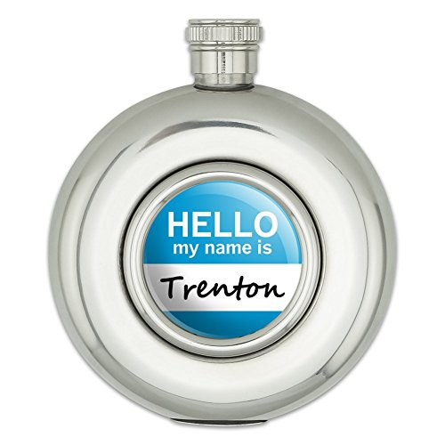 round-stainless-steel-5oz-hip-flask-hello-my-name-is-to-ty-trenton-hello-my-name-is