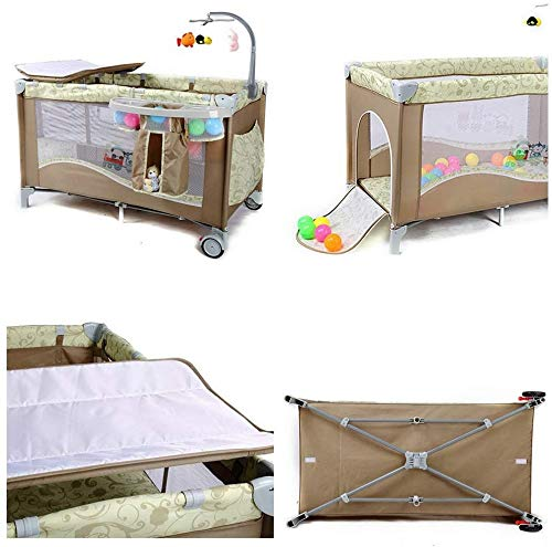 BHDYHM Bedside Sleeper Baby Includes Travel Bag, and Mattress Travel Cot, Correcting The Back Foldable Crib, Safety Padded Cots Unisex BHDYHM * The game bed mode, let the baby play safely, the music rack is equipped, don't worry that the baby will cry, liberate the mothers hands to do housework and create a warm home! * Safe height, don't worry that the baby will fall in the game bed, the baby can play, the mother can eat at ease, and it is their own rest time! *Moms are worried about the safety of the baby, but also take care of the husband's dinner, don't worry, the game bed mode, baby Jiankang happy play, mothers do cooking with heart! 4