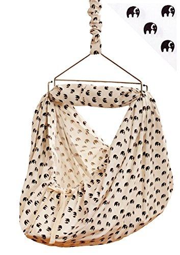 LaLeLu Federwiege | Babyhängematte (100% BIO-Baumwolle - Handmade - bis 15 kg - Elefantenmuster) - ALLE EINZELTEILE ENTHALTEN