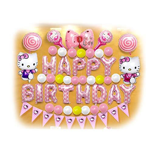 Spielzeug Alles Gute zum Geburtstag Dekorationen Party Supplies Set, Folie Party Ballons, rosa KT Katze, Blue Pig George, Blaue Doraemon, Blaue AFFE Ballon Dekoration Set (Color : Pink KT Cat) (Party Supplies George)