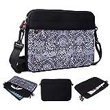 Kroo Tablet/Laptop Hülle Sleeve Case mit Schultergurt für Fujitsu Stylistic M532 schwarz schwarz