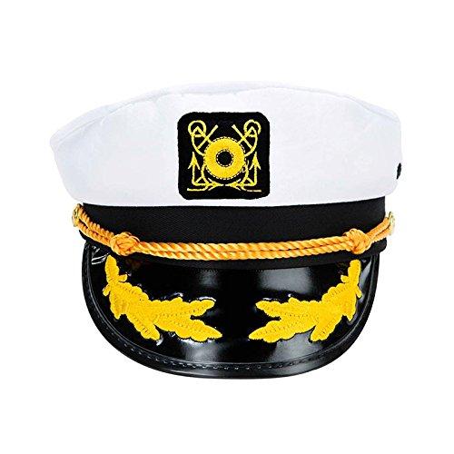 pitäns Yachtmütze, Weiß, verstellbarer Seemannschiff Yachtboot Kapitän Hut Marine Marines Kappe Hut Weiß (Alle White Party Thema)