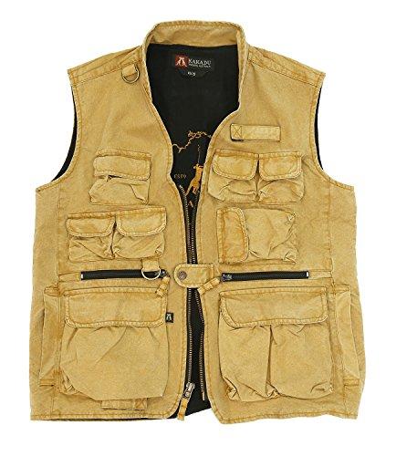 Outdoor Weste in braun und mustard zur Jagd oder zum Angeln mit vielen Taschen, aus robuster Canvas- Baumwolle bis 5XL Senf