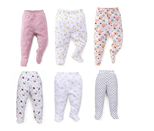 NammaBaby Pajama Leggings with Booties Leggings for New Born Baby - Set of 6 (6-9 months)