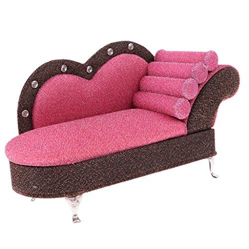 Dolity Miniatur Lange Sofa Chaiselongue Liege Puppenmöbel Für 1/6 Barbie, Blythe, BJD Puppen - Pink + Braun