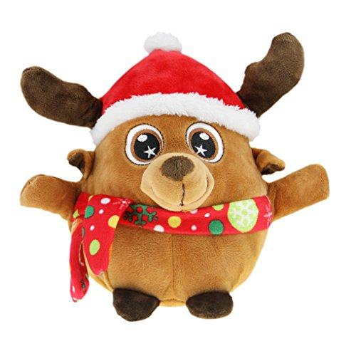 Liying Singender und Leuchtender Rentier Plüschtier 22cm Stofftier Spielzeug Cartoon Kuscheltier für Weihnachten