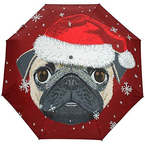 Merle House-Mops-Hund in Santa Hat Xmas Snowflakes-Selbstregenschirm-winddichtem Vertrag, Guten Rutsch ins Neue Jahr-Regenschirm-Reise-Sonnen-Regen im Freien -