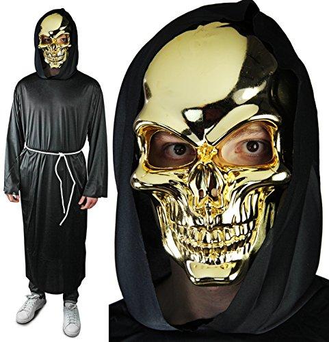 Hochwertige Mönch Robe (Halloween Goldener TOTENKOPF Mönch Robe + spiegelnde SKULL)