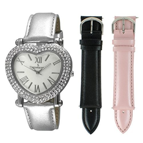 Peugeot Women's Heart Shaped Interchangeable Crystal Set Watch