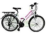 KRON 26 Zoll Fahrrad Damen Mädchen Fahrrad City Bike 21 Gang Shimano Weiss pink