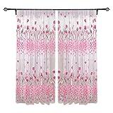 Tulip Printed Tulle Voile Door Window Curtain Sheer Drape Panel 200 x 100CM