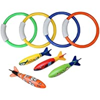 Lot de 4bagues et 4pcs Torpedo piscine plongée piscine de jouets pour l'eau de jeux Fournitures pour adultes et enfants d'entraînement Dive Toys Lot de 8