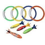 4pcs Anillos y 4pcs Torpedo piscina Buceo juguetes para juegos de agua piscina suministros para adultos y niños formación buceo juguetes Set de 8