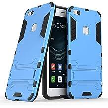 Huawei P10 Lite Custodia, Huawei P10 Lite Cover, MHHQ 2 in 1 nuovo Armour stile resistente Hybrid Dual Layer Armatura Defender PC + TPU Custodie con supporto [Custodia antiurto] per Huawei P10 Lite -Light Blue