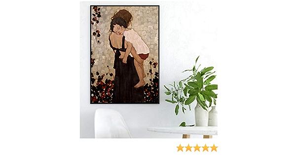 Replik Leinwand Gem/älde Gustav Klimt Poster und druckt eine Mutter mit einem Kind /Ölgem/älde auf Leinwand f/ür Wohnzimmer Home Decor