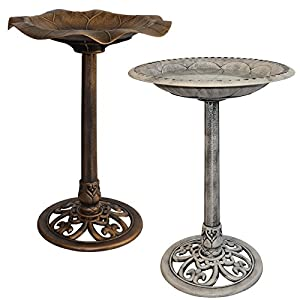 Marko Gardening Bird Bath Traditional Ornamental Pedestal Outdoor Garden Water Bronze & Stone