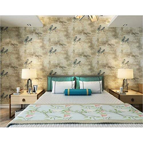 IF.HLMF Retro Fresko Vögel Blumen Weiche Flieder Tapete Reines Papier Zum Schlafzimmer Bett Wohnzimmer Fernseher Hintergrundwand 10 Mx 0,53 M/Rolle (Farbe : B)