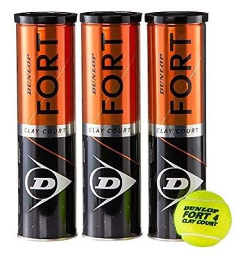 Dunlop Fort Clay Court - Tennisbälle - 12 Bälle (3 Dosen mit je 4 Bällen / 3 Tin x 4 Balls)  - gelb  - optimaler Trainingsball - Top-Preis Leistung