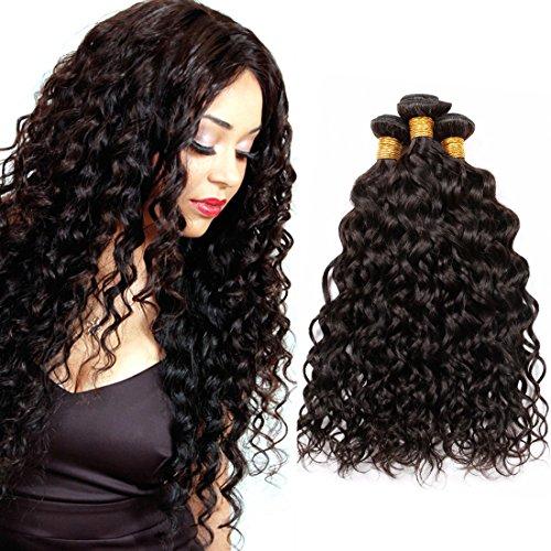 PURUN Meches Bresiliennes Lot 3 Bundles Water Wave Vierge Remy Human Hair Weave Tissage Cheveux Naturels Noir Bouclé 14 16 18 pouces