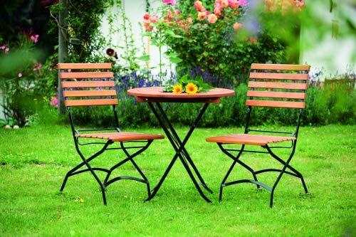 MERXX 3tlg. Schlossgarten Set, 2 Schlossgarten Klappstühle, 1 Klapptisch, Ø 70 cm