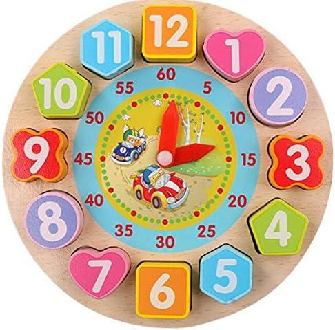 Différents cadeaux à vos bébés Adorable Horloge Horloge Horloge En Bois Éducative Jouet Early Learning Time Nombre Formes Couleur Animal Cognitive Jouet Pour  s (Voiture) | Vente  3c0ed7