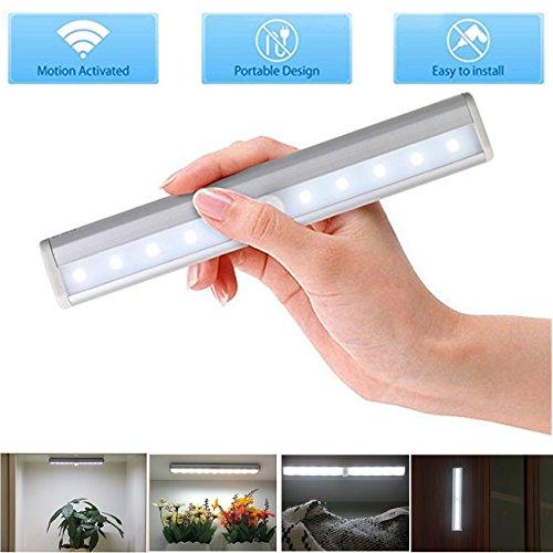 LED Schrankbeleuchtung Batterie, Nachtlicht mit Bewegungsmelder, 10 LED Batteriebetrieben Kabinett Nachtlicht, Auto On/Off PIR Motion Sensing Licht für Schlafzimmer, Küche, Gang, Schubfach, usw. -