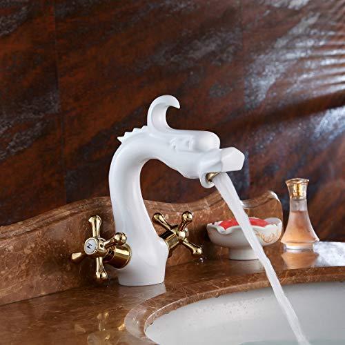 Preisvergleich Produktbild Gyy-tap Bad-Mischbatterie,  Waschtischarmaturen Porzellan Weiß vergoldet Kupfer Wasserhahn Weiß Wasserhahn Europäischen Retro Becken Waschbecken Warm und Kalt Wasserhahn