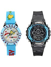 Fantasy World Light Blue Watch And Sport Watch Combo For Boys And Girls - B0789V3414