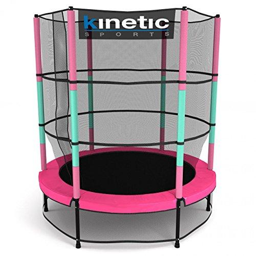 *Kinetic Sports Trampolin Kinder Indoortrampolin Jumper 140 cm Randabdeckung Stangen gepolstert, Gummiseil-Federung Sicherheitsnetz Pink*