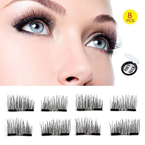 Youke Dual Magnetic Eyelashes, Double aimants, 3D Réutilisable Fibre Magnétique Faux Cils, 2 Paires 8 Pièces