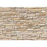 Fototapete 350x245 cm - ALLE TOPSELLER auf einen Blick ! Vlies PREMIUM PLUS - ASIAN STONE WALL - BEIGE - Steintapete Wandbild Steinwand Steintapete Asia Stone Asien - no. 129