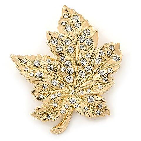 Gold Tone Clear Crystal Maple Leaf Brooch - 50mm L