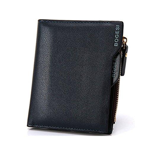 Wewod Herren Geldbeutel Mit Geschenk-Box--M size/kunstleder/Multi-Slots mit Münze Reißverschlusstaschen (Schwarz) Blau