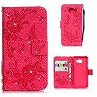 Galaxy A3 2016 Case, KKEIKO® Galaxy A3 2016 Wallet Case [with Free Screen Protector], Premium Flip Leather Case and Cover with Bling Rhinestone, Shockproof Bumper Cover Case for Samsung Galaxy A3 2016 (Rose Pink)