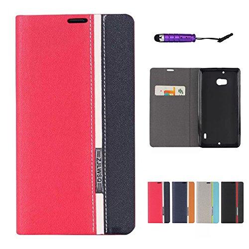 fitmore Nokia Lumia 930 Folio Custodia, Back Case Pouches Bumper Shell Red+Black