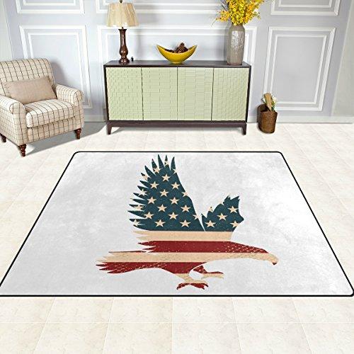doshine Bereich Teppiche Matte Teppich 4'X5', American USA Flagge Adler Polyester rutschfest Wohnzimmer Esszimmer Schlafzimmer Teppich Eingang Fußmatte Home Decor, multi, - Adler-raum-dekor