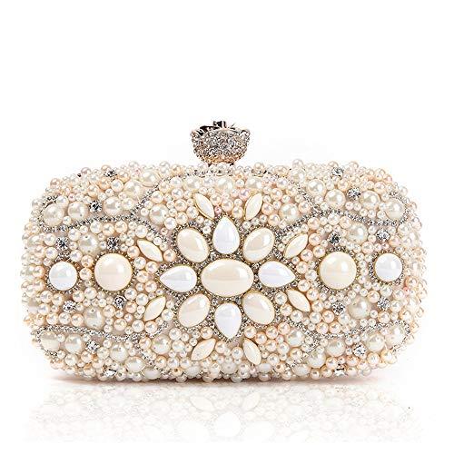 ZTDXCL Damen Clutch Geschirrtasche Gem Diamond Perlen Dinner Bag Party Dress Ball Handtasche Abendtasche, Pink - Pink Satin Ball
