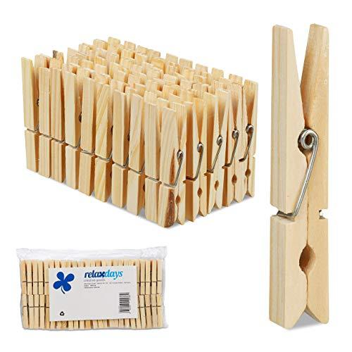 Relaxdays 200 x Wäscheklammern Holz, große Holzwäscheklammern, Basteln, Klammern zum Trocknen, Metallfeder, Holzklammern, Natur