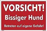 Kleberio® Warn Schild 30 x 20 cm - Vorsicht! Bissiger Hund Betreten auf eigene Gefahr - stabile Aluminiumverbundplatte