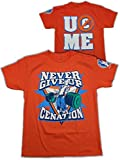 Kinder T-Shirt John Cena Never Give Up Orange, Gr.:S
