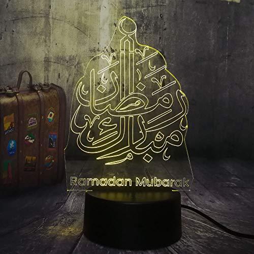 Neuheit Islam Segen Ramadan Mubarak Beste Wünsche Grüße 3D LED Nachtlicht Schreibtischlampe Wohnkultur Weihnachtsgeschenk Kinder Spielzeug, Touch