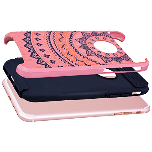 "WE LOVE CASE iPhone 7 Plus / iPhone 8 Plus Hülle Blumen Mandala Wabe 2 in 1 iPhone 7 Plus / iPhone 8 Plus 5,5"" Hülle Minze Grün Schutzhülle Handyhülle Handytasche Handycover PC Harte Case Anti-Scratch Rose gold + black"
