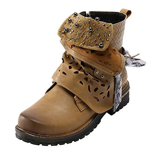 Bottes ajourées,LuckyGirls Bottes Plate-Forme Boots Talon Haut Femmes Hiver Épais Chaussures L'intérieur Casual Femmes rétro Rivets Brillants Bottines Talon Chaussures de soirée 35-43
