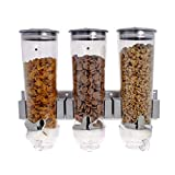 Smartfox 3fach Wandspender Müslispender Dispenser Cornflakes-Dosierer mit 1,5 l Behältern in Silber inkl. Wandhalterung