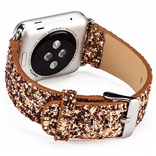 für Apple Watch Armband, Soft Leder Ersatz Uhrenarmbänder für 38mm iWatch Serie 3/Serie 2/Serie 1-Golden (Soft-uhr)