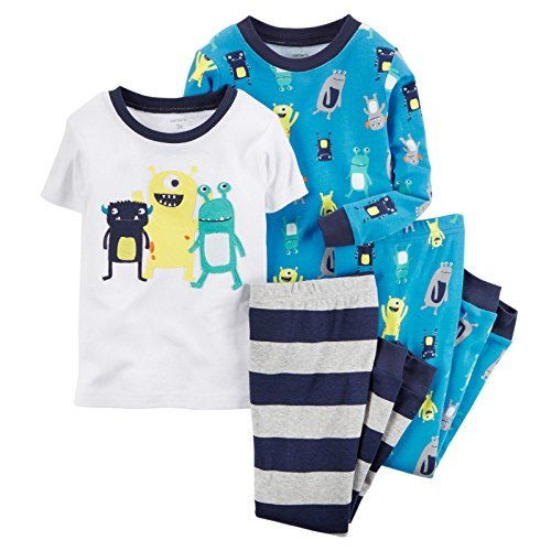 carters-4-piece-mix-n-match-toddler-boys-little-monster-cotton-pyjama-set-4-years