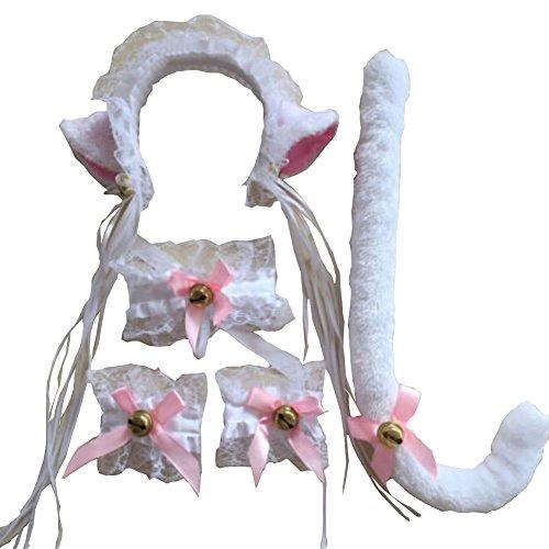 (5 STÜCKE Katze Fuchspelz Ohren + Schwanz Armbänder Anime Neko Kostüm Haar Stirnband Cosplay Set (B))