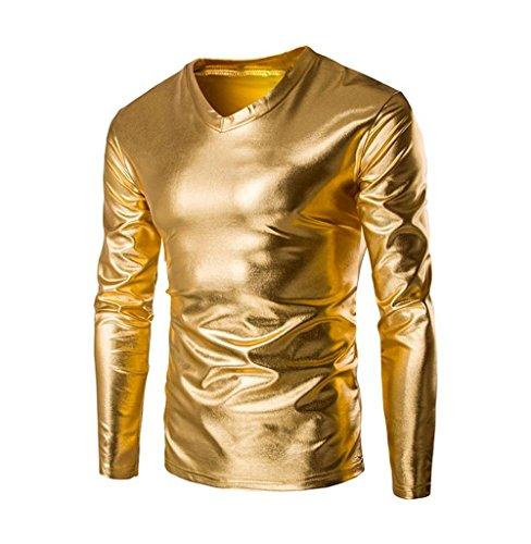 lic Shiny Wet Look Langarm T-Shirt Top Slim Fit V-Ausschnitt Bluse Classics Top V-Ausschnitt Tee Fitness Langarmshirt Shirt Persönlichkeit Pullover (Golden, M) ()