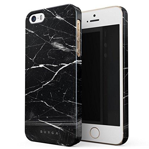 Cover iPhone 5 / 5s / SE Nero Marmo, BURGA Black Marble Design Sottile, Guscio Resistente In Plastica Dura, Custodia Protettiva Per iPhone 5 / 5s / SE Case Origin Black