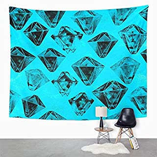 Eriesy Wall Tapestry Fashionable Vivid with Crystals and Polygon Retro in 200S 90S Bright Blue Tapestry Wall Hanging Home Decorations Mysterious for Bedroom Home 150x200cm